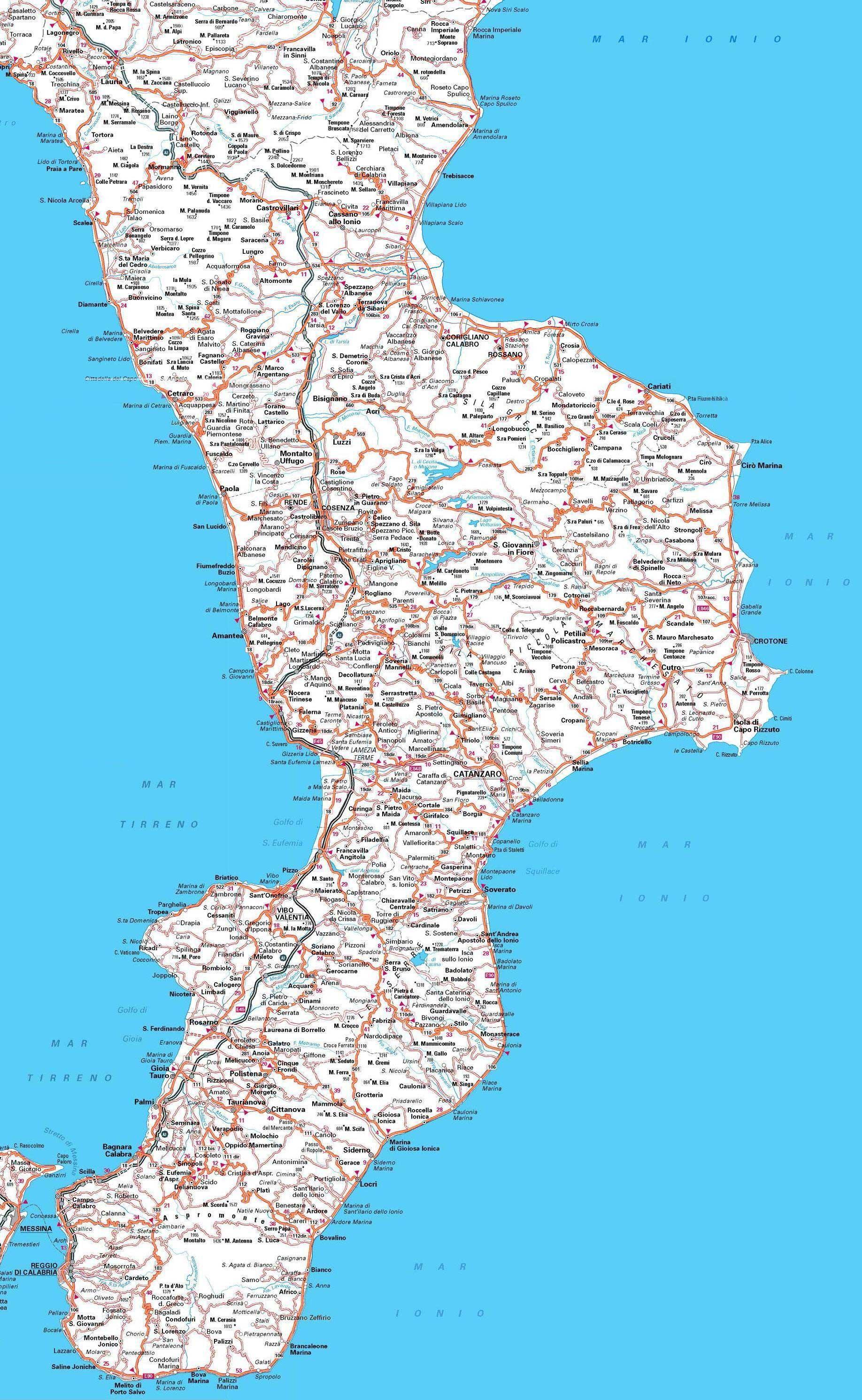 Calabria Costa Tirrenica Cartina.Calabria Carta Stradale