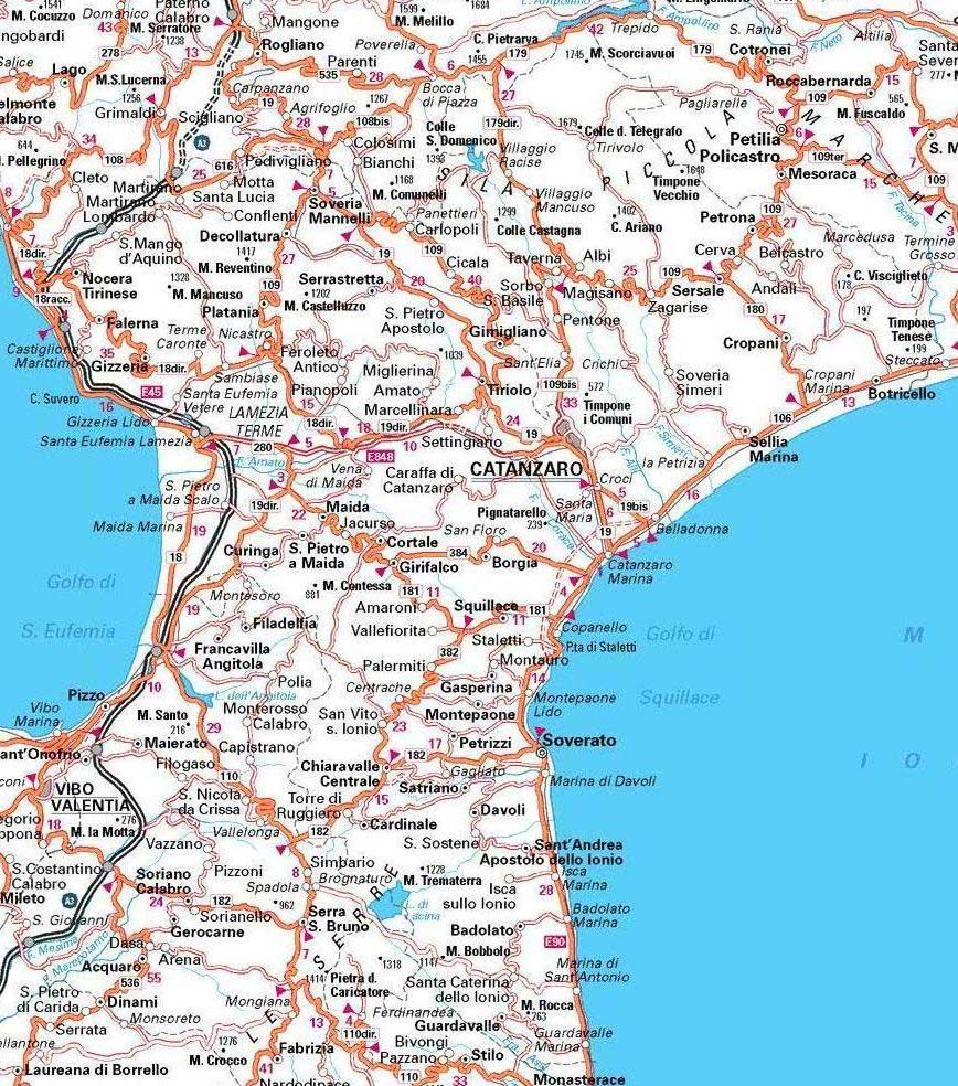 Cartina Geografica Cosenza E Provincia.Catanzaro Carta Stradale