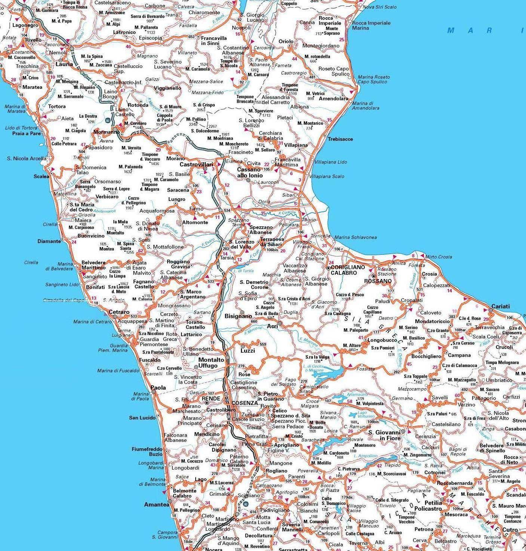 Cartina Geografica Calabria.Cosenza Carta Stradale