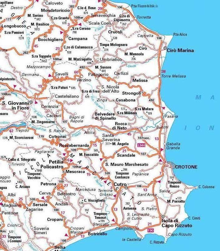 Cartina Geografica Calabria.Crotone Carta Stradale