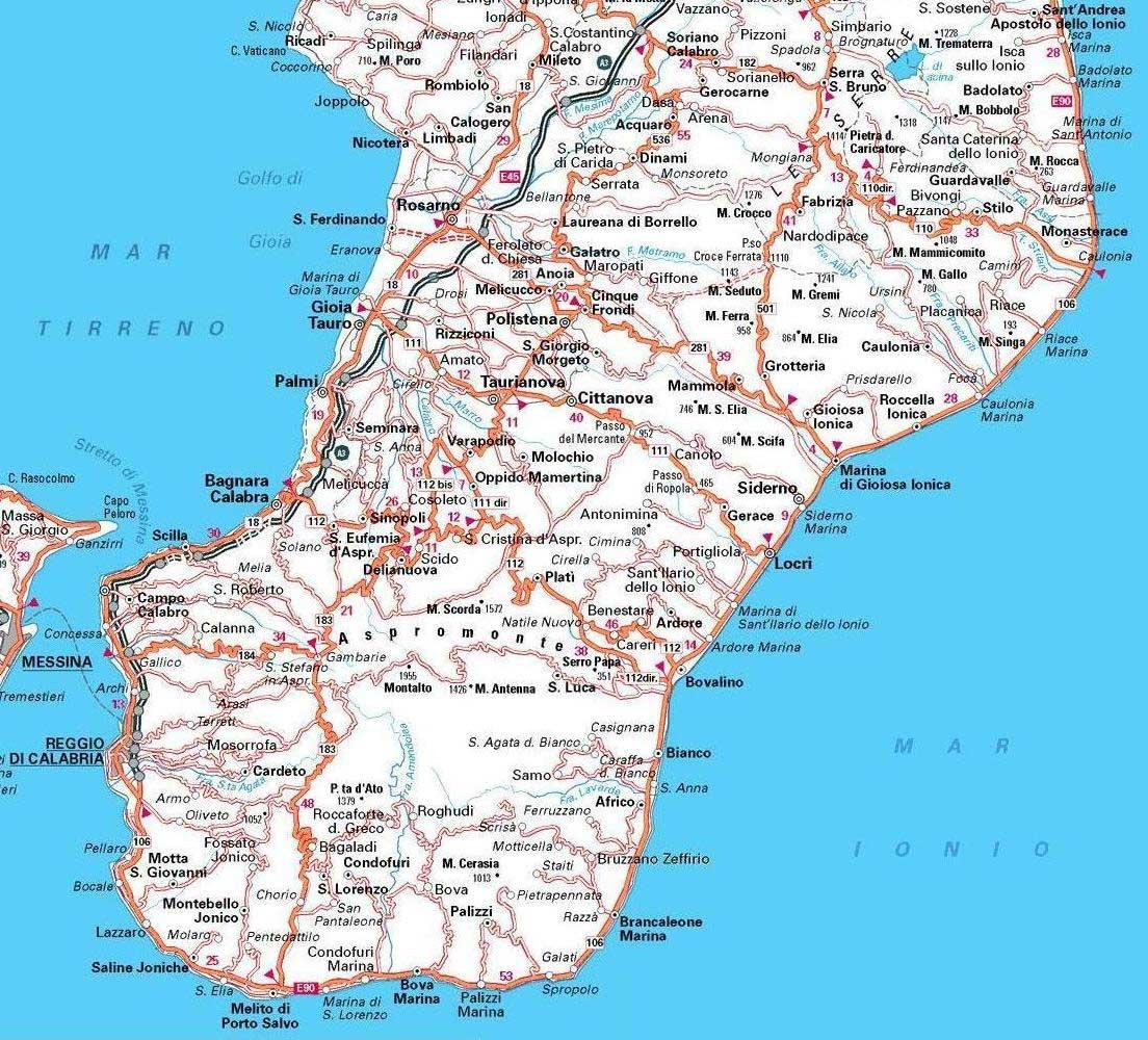 Cartina Geografica Calabria.Reggio Calabria Carta Stradale